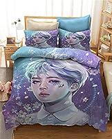 KPOP BTS羽毛布団カバーシングル/ダブル掛け布団カバー3Dアニメ漫画のテーマ寝具男の子の女の子のためのロマンチックな贈り物をセット (Color : L, Size : 140×200cm)