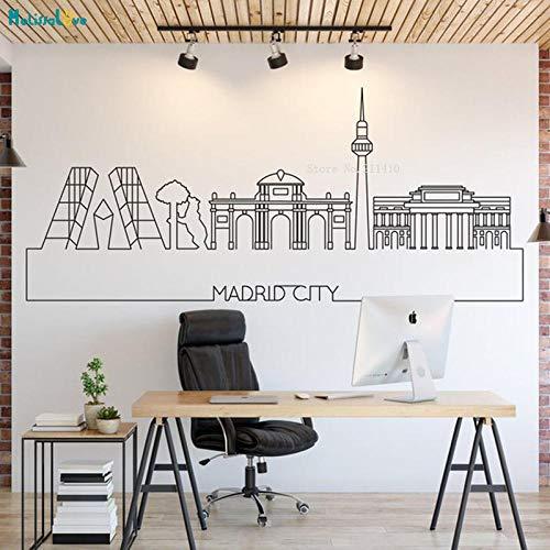 cooldeerydm Madrid skyline línea simple decoración ciudad horizonte pegatinas de pared decoración del hogar vinilo extraíble ciudad paisaje apliques diseño de arte