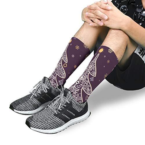 Hcrmtn-Leggings Christmas Flower Printed Compression Socks Best for Running Sports Hiking Flight Travel White s