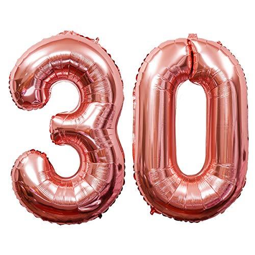 Meowoo Helium Luftballon 30 Geburtstag 100CM Folienballon Zahl 30 Geburtstag Party Dekoration Supplies (Rose-Gold Num 30)