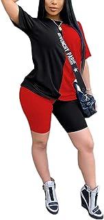 Mintsnow Womens 2 Piece Sport Outfit Tracksuit Color Block T Shirt + Bodycon Shorts Set Jogger Jumpsuit Sportwear S-5XL