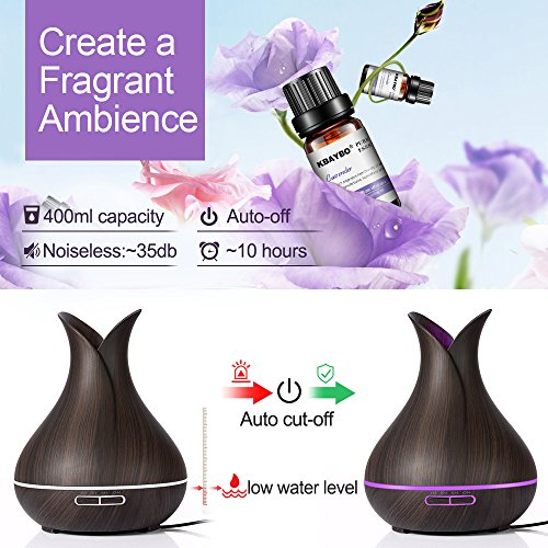 TOMNEW-400ml-Essential-Oil-Diffuser-for-Aromatherapy-Up-to-12H-Use-Cool-Mist-Aroma-Diffuser-4-Timer-Setting-BPA-Free-Waterless-Auto-Off-7-Color-LED-LightsWood-Grain-for-HomeBedroomSpaGift