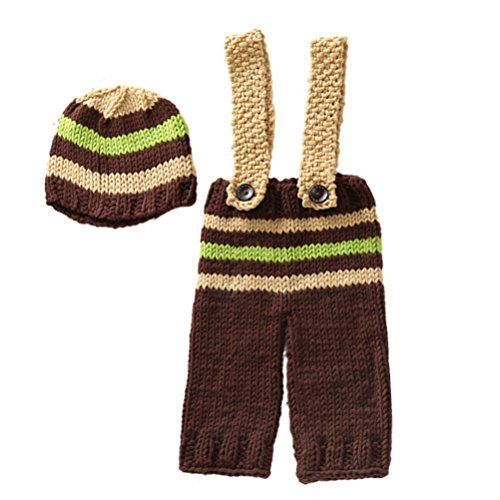 Zhhlinyuan Mode Newborn Photo Photography Prop Baby Boys Crochet Knit Hats Outfits Costume 2163