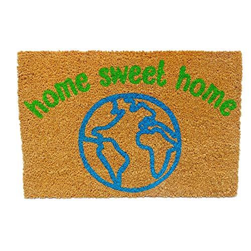 koko doormats Felpudo para Entrada de Casa Original, Modelo World Home Sweet Home, Fibra de Coco y PVC, 40x60cm