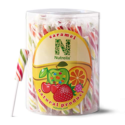 Suckers Sticks Lollipops 100 Count Delicious 4 Fruit Flavors Assorted Individually Wrapped Bulk Package