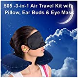 -3-in-1 Air Travel Kit with Pillow, Ear Buds & Eye Mask