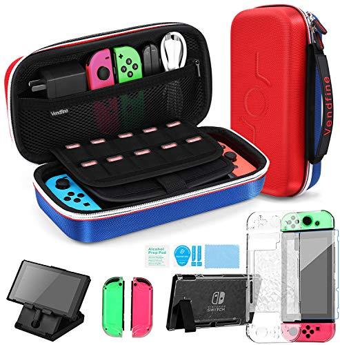 Kit Accessori 4 in 1 per Nintendo Switch, Include Vendfine custodia trasporto per Nintend Switch / Cover Protettiva Trasparente / Film protettivo temperato / Supporto regolabile(Rosso/Blu)