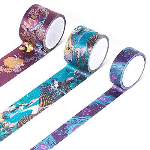 LEYUANA Juego de cintas Washi de 3 piezas, papel de palacio de verano, cintas adhesivas de enmascaramiento de estilo chino originales para lápiz labial, pegatina de diario, DIY JinxiuQiancheng