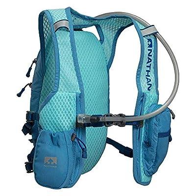 Nathan Hydration Running Vest with 2 Liter Bladder Included. Back Pack with Drinking Bite Valve - Smartphone Compatible Pocket for Storing Essentials - Blue