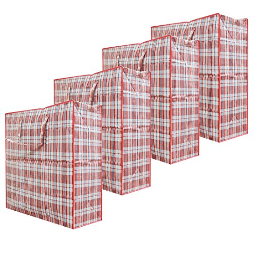 Set of 4 Extra-Large Plastic Checkered Storage Laundry Shopping Bags W. Zipper & Handles Size 23'x23'x5' Assorted Colors