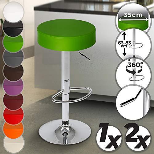 Barhocker mit Fußablage - aus Kunstleder, um 360° drehbar und höhenverstellbar - in verschiedenen Farben & Setwahl - Barsessel Barstuhl Esszimmer Möbel (Grün, 1er)