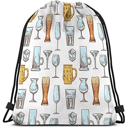 BOUIA Sports Fitness Bag Trekkoord Rugzak voor verschillende drank drank glazen naadloos patroon stemware verschillende drank glazen