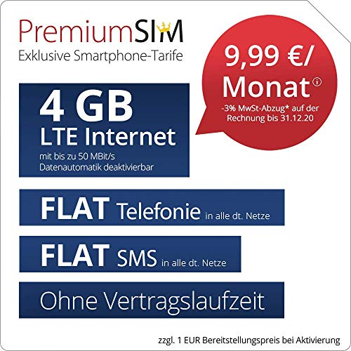 Handyvertrag PremiumSIM LTE M - ohne Vertragslaufzeit (FLAT Internet 4 GB LTE mit max. 50 MBit/s mit deaktivierbarer Datenautomatik, FLAT Telefonie, FLAT SMS und EU-Ausland, 9,99 Euro/Monat)