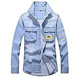 Azruma Jeanshemd Herren Klassisch Jeansjacke Biker Style Jeans Jacket Blue Denim Jacke Blau Schnalle Jeans Shirt Button Down Slim Fit Denim Shirt Jacke