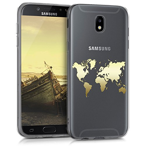 kwmobile Hülle kompatibel mit Samsung Galaxy J5 (2017) DUOS - Handyhülle - Handy Case Travel Umriss Gold Transparent