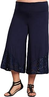 HEYHUN Women's Solid Tie Dye Wide Leg Flared Capri Boho Gaucho Pants w/Lace Detail