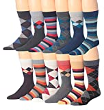 James Fiallo Mens 12-Pairs Funny Funky Crazy Novelty Colorful Patterned Dress SockS M195-12