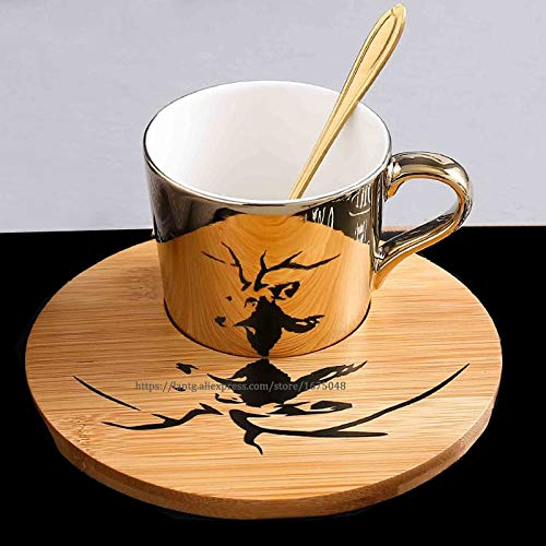 New Leopard Anamorphic Cup Mirror Reflection Cup Zebra Mug Elk Coffee Cup with Plate Orange