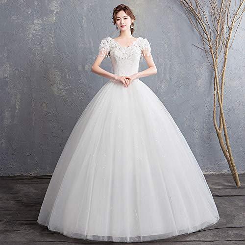 Schulter-Verpackungs-Hochzeitskleid, Spitze V-Ausschnitt, Träger zusammen, Slim Fit, Braut Brautkleid Prinzessin Kleid XXL