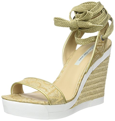 Calvin Klein Jeans Eleanor Metallic Jacq./Nappa Smooth, Sandalias con Plataforma para Mujer, Dorado (Gold), 39 EU