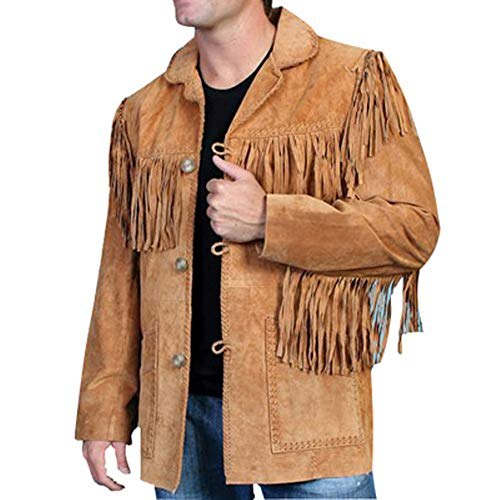 Men's Western Real Suede Leather Jacket with Fringe and Beaded with Satin Lining Black