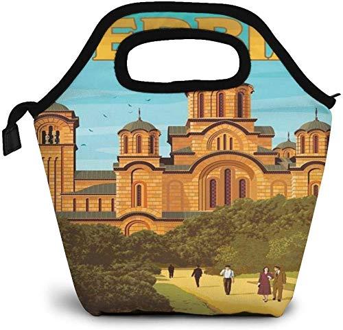 Monde Vintagetravel affiche serbie sac à lunch isolé boîte à Bento personnalisée pique-nique glacière Portable sac à main déjeuner fourre-tout pour femmes fille hommes garçon