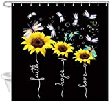 DYNH Duschvorhang, Sonnenblumen-Motiv, rustikale Blume, Libelle & Glaube, Hoffnung, Liebe, Stoff, Badezimmer-Zubehör, 12 Haken, 174 x 178 cm, schwarz-gelbes Kunstwerk (129 162 cm)