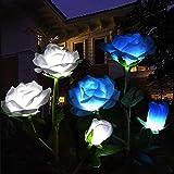 UNDADE Solar Flower Light, Solar Garden Decorative Light, LED Solar Garden Light with 6 Rose Flowers, for Garden, Terrace, Garden Decoration(2 Pack White and Blue)