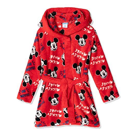 Disney Mickey Mouse Character Jungen Mädchen Coral Fleece Kapuzen-Bademantel, Bademantel, Handtuch mit Punktemuster, 2–8 Jahre Gr. 4-5 Jahre, Rot - Micky Maus
