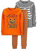 Simple Joys by Carter's Kids' Toddler 3-Piece Snug-Fit Cotton Halloween Pajama Set, Skeleton/Candy, 4T