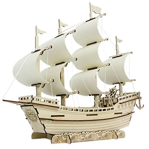BESTCZ Puzzle de Madera 3D, Puzzle 3D de Madera Barco de Vela, Juguete de Montaje, Modelo Mecánico de Bricolaje, Kit de Construcción de Edificios, Juguete Educativo, Decoración, Cumpleaños