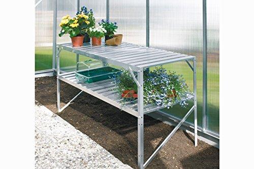 Tisch mit 2 Ablagen aus Aluminium, natur eloxiert, L 120 x 52 x H. 76 cm
