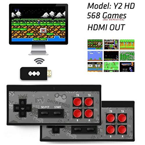 Consola de videojuegos retro clásica Consola de juegos HDMI Mini USB USB Construido en 568 videojuegos con controles duales, para dos jugadores, videojuegos para niños y niños