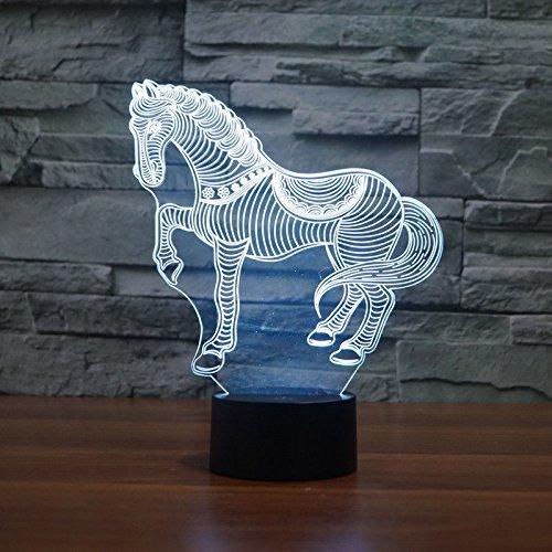 Creativo 3D Caballo Luz de Noche 7 Colores que Cambian USB Poder Touch Switch Ilusión óptica Decor Lámpara LED Mesa Lámpara Niños Juguetes Cumpleaños Navidad Regalo