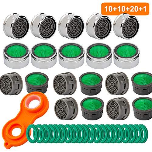 10 Stück Wasserhahn Strahlregler M24, 10 Strahlregler Innenteil, Luftsprudler Wasserhahn Hahn Filter aus ABS, Wasserhahn Luftsprudler, inkl. Mischdüsenschlüssel Für Küche Bad