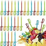 Plastic Cocktail Sword Picks Fruit Picks Colorful Appetizer Picks Drink Picks Multicolored Sword Toothpicks for Family Party Bar (300)
