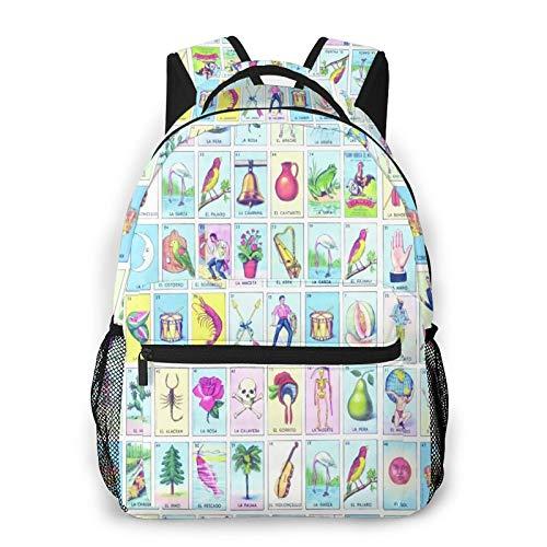 Rucksack für Teens Männer Frauen Speicherpaket,LoteriaBadehoseKordelzugElastische Taille,Beiläufig Schülertasche Reise-Laptop-Tagesrucksack