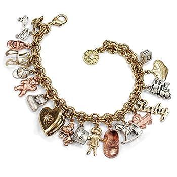 Mother s Memories Baby Childhood Vintage Charm Bracelet - Gold Silver Rose Gold