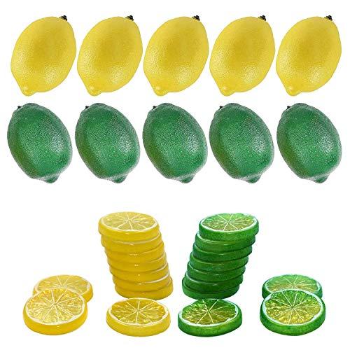 Woohome 30 Stück Künstliche Fruch Künstliche Limetten Künstliche Zitronenscheiben Deko Gefälschte Zitronenscheibe Party Festival Dekoration, Fotografie Requisiten, Gelb und Grün