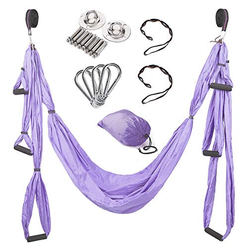 Buy Discount MQSS Premium Yoga Trapeze Set Aerial Yoga Swing - Ultra Strong Antigravity Yoga Hammock...