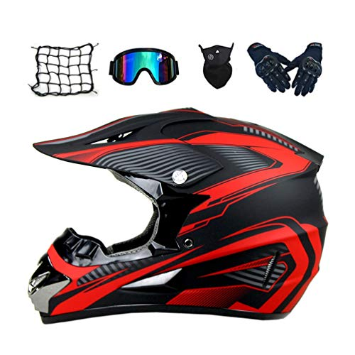 Casco Motocross Bambino, Nero e Rosso, Casco MTB Integrale Downhill Enduro Motard DH off-Road Quad Scooter MX Adulto Casco Moto Cross Set con Occhiali Guanti Face Mask Rete Ragno Elastica,M
