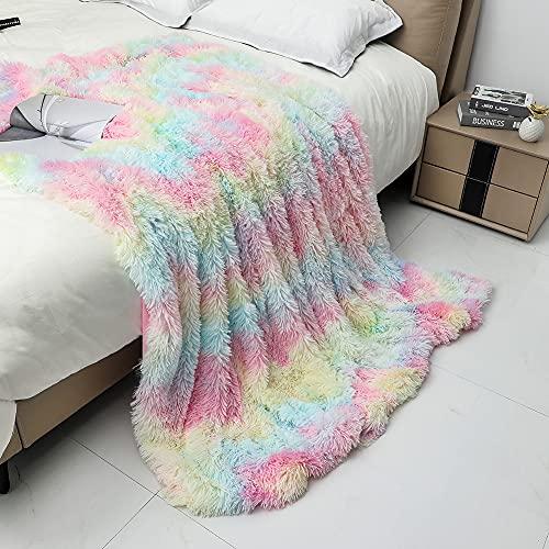 Kuscheldecke, 130x160cm Regenbogen Decke, Weiche Flauschige & Warm Kunstfell Wendedecke Fleecedecke Sofadecke Wohnzimmer Wohndecke