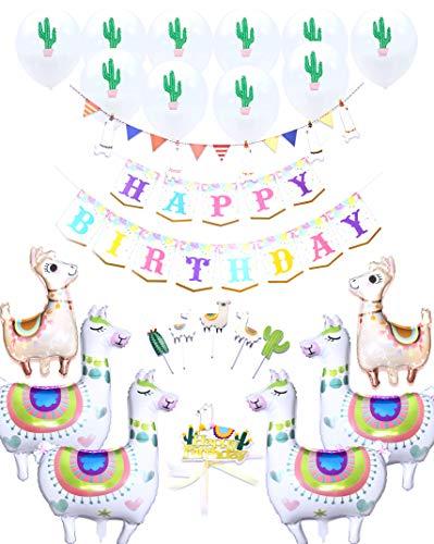 Regendeko 25 STK Happy Birthday Alpaka Set Geburstagsdeko Tier Geburstags Girlande Party Deko