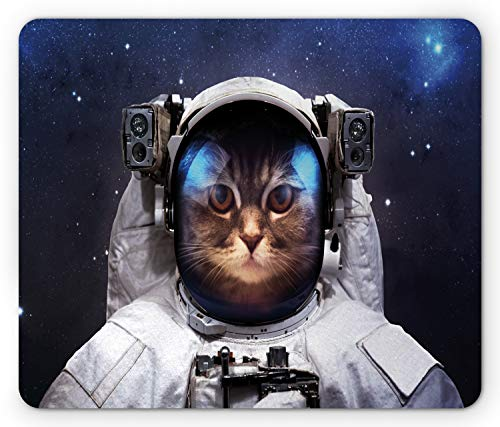 Ambesonne Space Cat Mouse Pad, Milkyway Galaxy Space Traveller Cat in Suit with Stars Backdrop Image, Rectangle Non-Slip Rubber Mousepad, Standard Size, Navy Blue and White