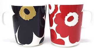 マリメッコ UNIKKO(ウニッコ)マグカップ/黒、朱色 セット