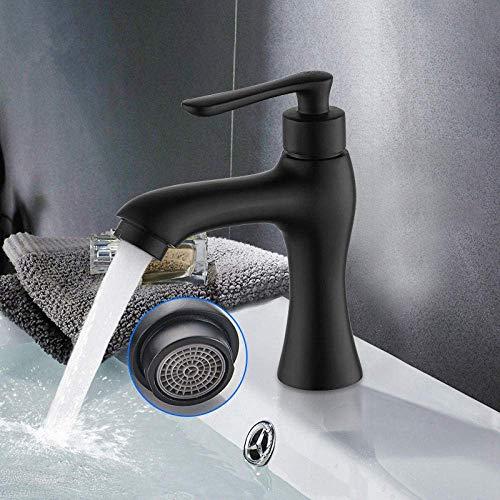 CESULIS Grifo de lavabo de baño solo grifo de fregadero frío negro acabado lavabo grifo montado cubierta latón macizo grifo de grifo de latón negro acabado_China