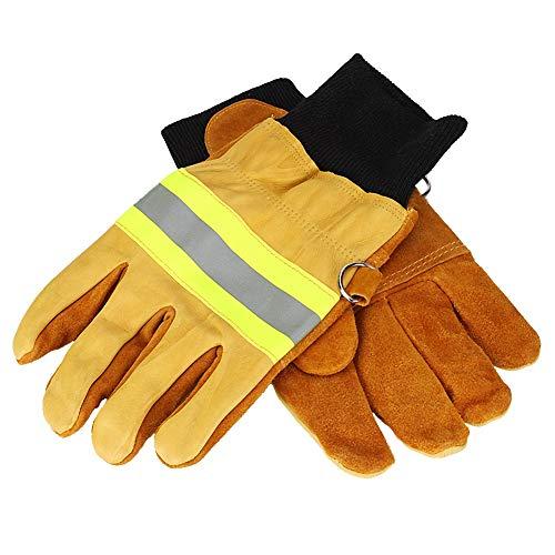 Feuerfeste Handschuhe,Feuerwehrhandschuhe Beweis Wasserdicht Hitze Beständig Schwer Entflammbar Handschuhe mit Reflektierenden Riemen