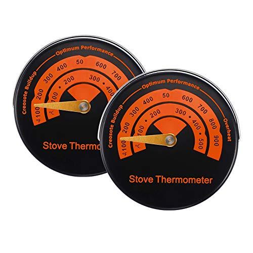 Nrpfell Ofenthermometer Digital Schwarz Analog Thermometer fur Ofen, Backen, Herd, Kessel, Kamine, mit Magneten, 2 Pcs