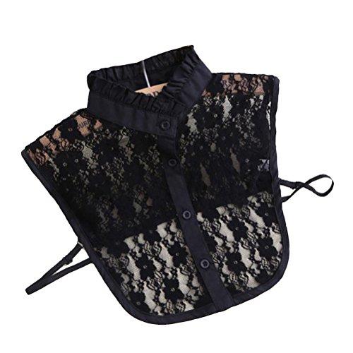 NUOLUX Halbes Hemd Bluse Kragen Frauen floraler Spitze abnehmbare Kragen Shirt (schwarz)