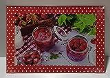 Tabla de cortar de cristal con diseño de fresas, aprox. 36,5 x 24,5 x 0,5 cm
